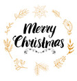 merry chistmas lettering with floral and pine vector image
