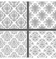 Damask white and black seamless pattern vector image