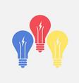 abstract flat design color lightbulbs eureka vector image