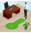 businessman playing mini golf in his office vector image