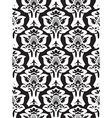damask seamless floral pattern black and white vector image