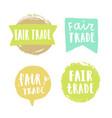 fair trade hand drawn badges vector image