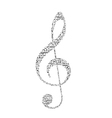 treble clef with music notes vector image