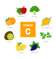 cartoon food with vitamin c infographics vector image