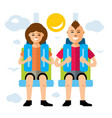 couple in attraction park flat style vector image