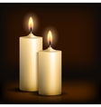Two burning candles on black background vector image vector image