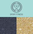 sport badge and seamless pattern vector image vector image