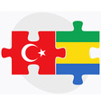 Turkey and Gabon Flags vector image