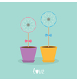 Two dandelion blowball flower set with hearts in vector image vector image