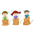 Three children jumping in sacks vector image