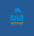 Creative logo for vape shop Man in the hood with t vector image