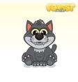 Cute Cartoon Black Wolf Funny Animal vector image