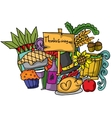 Doodle of thanksgiving color cartoon vector image