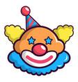 funny clown head icon cartoon style vector image