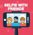 Selfie with friends - smartphone on selfie stick vector image