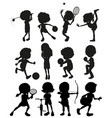Silhouette kids playing sports vector image