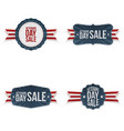 veterans day greeting labels set vector image