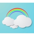 modern rainbow with clouds background vector image vector image