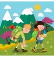 Happy Couple Hiking on the Mountains vector image