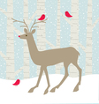 deer and birds vector image