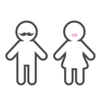 Man and Woman contour line icon Lips Mustache vector image