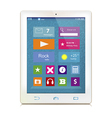 White tablet computer with color icons on display vector image vector image