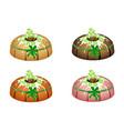 bundt cake with sugar glaze and four leaf clover vector image vector image