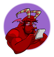 Cartoon red horned demon reads vector image