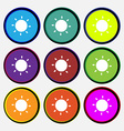 Sun icon sign Nine multi-colored round buttons vector image