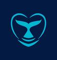 whale heart logo sign emblem on blue background vector image