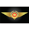 vintage emblem with gold wings vector image vector image
