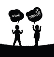 children with speech bubble in nature silhouette vector image