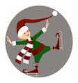 Christamas happy elf skating vector image