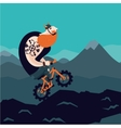 Mountain bike Big man cycling Cartoon vector image