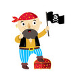 Pirate character with jolly roger flag icon vector image