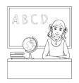 Schoolgirl at the desk near the blackboard vector image