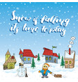 winter season hand drawn with small houses vector image