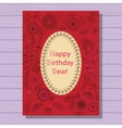 Red happy birthday dear card on wooden background vector image