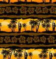 Tropical frangipani with palms sunrise seamless vector image
