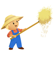 Cartoon Farmer hay with pitchfork vector image