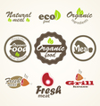 Eco and fresh food products stickers vector image vector image