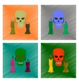 assembly flat shading style icon candle skull vector image