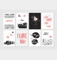 happy valentines day set of valentines romantic vector image