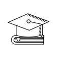line cap graduation over close book vector image