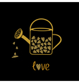 Love watering can with hearts inside Gold sparkles vector image