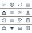 set of 16 education icons includes e-study home vector image