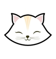 white cat kitty closed eyes animal cute vector image