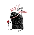 Funny Monster with Flower Happy Birthday Greeting vector image