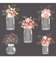 Pastel Flowers in Mason Jars vector image