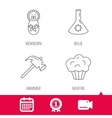 Newborn muffin and lab bulb icons vector image